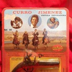 Juguetes antiguos: BLISTER ORIGINAL PISTOLA REDONDO-CURRO JIMÉNEZ- FULMINANTES, AÑOS 70.. Lote 112077903
