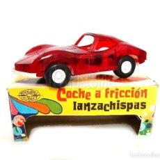 Juguetes antiguos: COCHE TIPO PORSCHE A FRICCION DE PLASTICO LANZA CHISPAS (LANZACHISPAS) DE BERNABEU GISBERT AÑOS 60. Lote 114111199