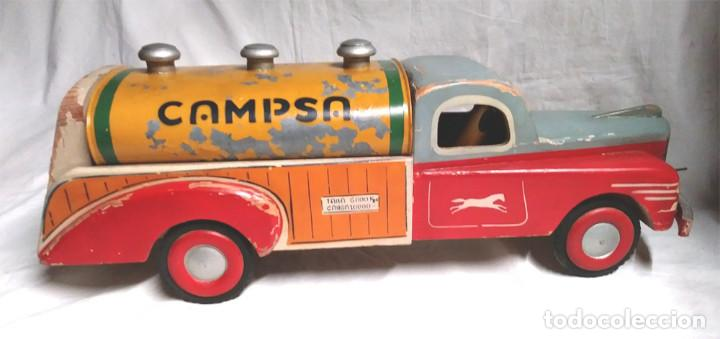Juguetes antiguos: Camión Campsa Denia años 50 de Juan Forner Font de cuerda, Madera, Cisterna hojalata, completo. - Foto 6 - 118966235