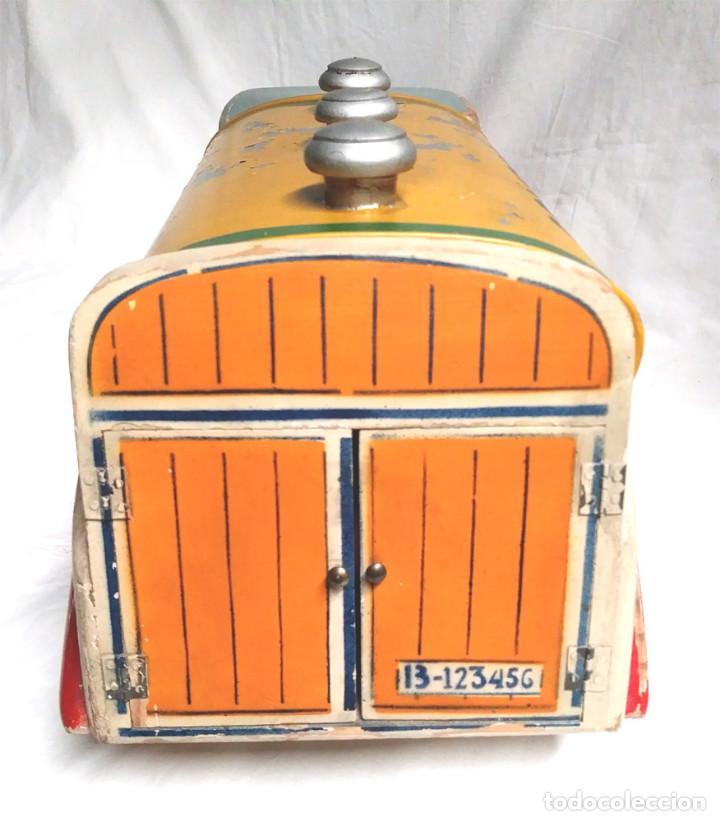 Juguetes antiguos: Camión Campsa Denia años 50 de Juan Forner Font de cuerda, Madera, Cisterna hojalata, completo. - Foto 9 - 118966235