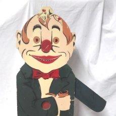 Juguetes antiguos - Payaso Clown Tragabolas Denia años 50, madera policromada, no jugado resto tienda. Med. 48 x 94 cm - 119981763