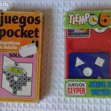 Juguetes antiguos: LOTE JUEGO DE BOLSILLO GEYPER TIEMPO-5 Y JUEGO DE BOLSILLO MAGNETICO SOLITARIO DE RIMA 80 NUEVO PVC. Lote 120832883