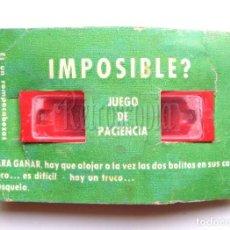 Juguetes antiguos: JUEGO DE HABILIDAD Y PACIENCIA. IMPOSIBLE. ROMPECABEZAS VILPA AÑOS 70 COLOR ROJO. Lote 124636491