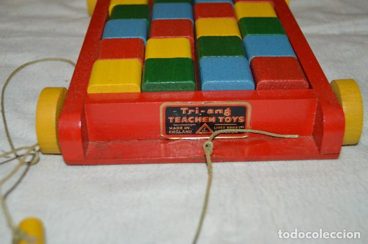 Juguetes antiguos: NOS - WOODEN CART & BRICKS - TRI ANG TEACHEM TOYS LINES BROS LTD - 1950s - VINTAGE JOYA - ENVÍO 24H - Foto 3 - 126720487