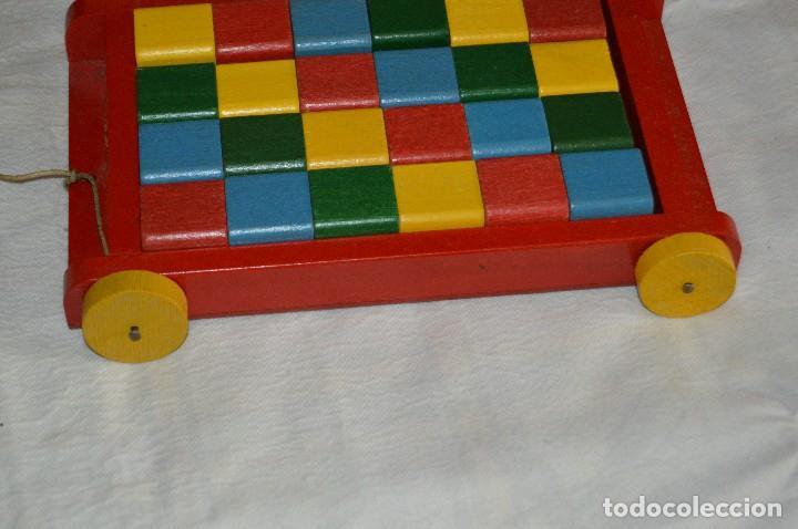 Juguetes antiguos: NOS - WOODEN CART & BRICKS - TRI ANG TEACHEM TOYS LINES BROS LTD - 1950s - VINTAGE JOYA - ENVÍO 24H - Foto 7 - 126720487
