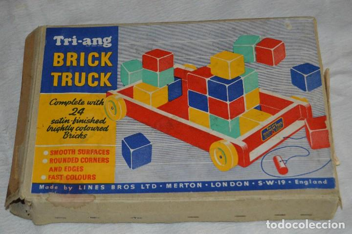Juguetes antiguos: NOS - WOODEN CART & BRICKS - TRI ANG TEACHEM TOYS LINES BROS LTD - 1950s - VINTAGE JOYA - ENVÍO 24H - Foto 11 - 126720487