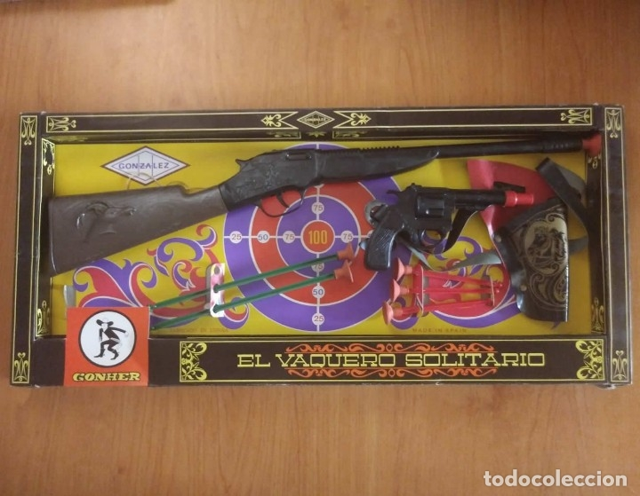 Juguetes antiguos: El vaquero solitario. Caja original. Rifle, revolver con cartuchera y complementos. Gonher Gonzalez - Foto 8 - 128638251