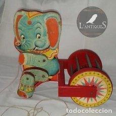 Juguetes antiguos - Antiguo juguete elefante de madera en triciclo, arrastre DENIA s XX - 97849195