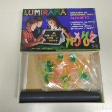 Juguetes antiguos: 1018- JUEGO LUMIRAMA ALFABETO LUMINOSO/2 MADEL ESPAÑA 70 S REF 213 NEW OLD STOCK . Lote 136376206