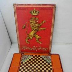 Juguetes antiguos: JUEGOS REUNIDOS DE BORRAS CERCA 1900. HALMA, LUDO Y DAMAS. RARO. Lote 140291102