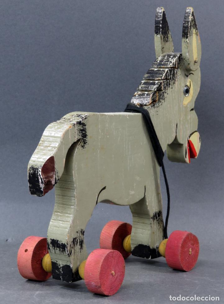Juguetes antiguos: Burro arrastre madera Denia con ruedas años 40 - 50 - Foto 5 - 144126310