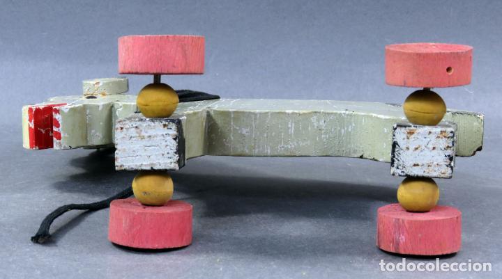 Juguetes antiguos: Burro arrastre madera Denia con ruedas años 40 - 50 - Foto 6 - 144126310