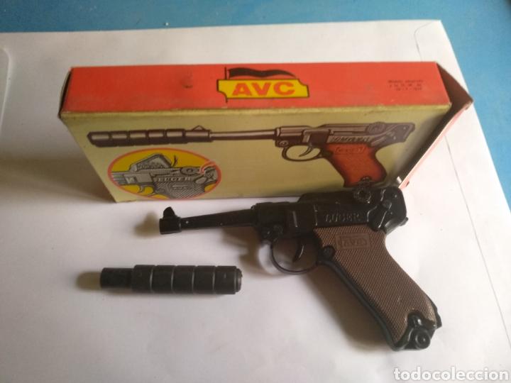 Juguetes antiguos: Pistola juguete Luger Cal 765 especial con silenciador ,marca AVC hecho en Ibi España - Foto 4 - 148773621