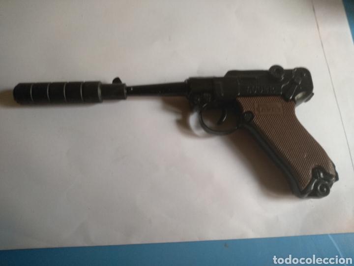 Juguetes antiguos: Pistola juguete Luger Cal 765 especial con silenciador ,marca AVC hecho en Ibi España - Foto 5 - 148773621
