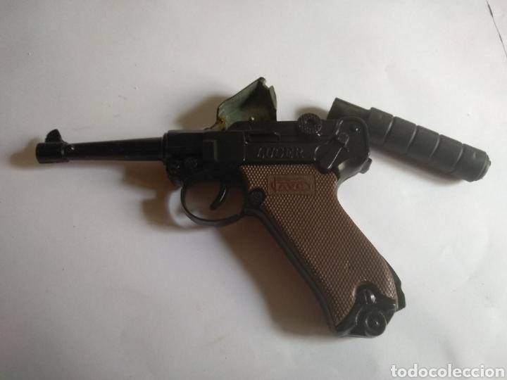 Juguetes antiguos: Pistola juguete Luger Cal 765 especial con silenciador ,marca AVC hecho en Ibi España - Foto 7 - 148773621