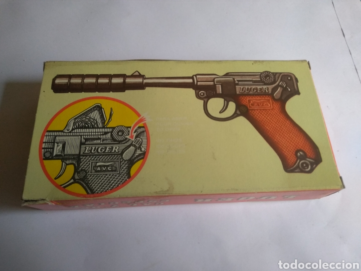 Juguetes antiguos: Pistola juguete Luger Cal 765 especial con silenciador ,marca AVC hecho en Ibi España - Foto 10 - 148773621