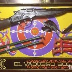 Juguetes antiguos: EL VAQUERO SOLITARIO. CAJA ORIGINAL. RIFLE, REVOLVER CON CARTUCHERA Y COMPLEMENTOS. GONHER GONZALEZ. Lote 128638251