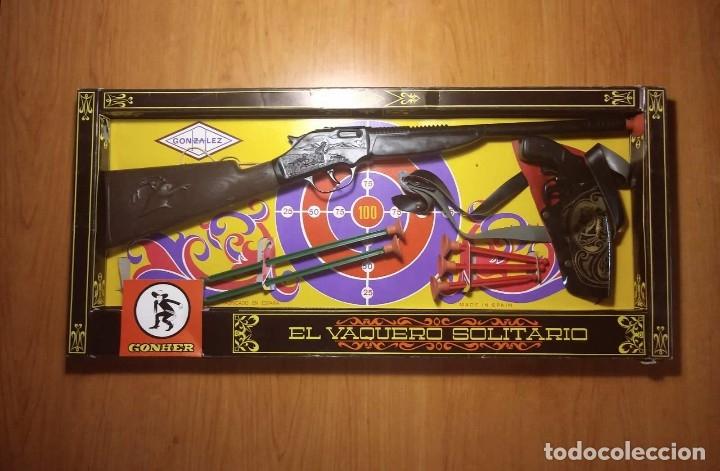 Juguetes antiguos: El vaquero solitario. Caja original. Rifle, revolver con cartuchera y complementos. Gonher Gonzalez - Foto 2 - 128638251