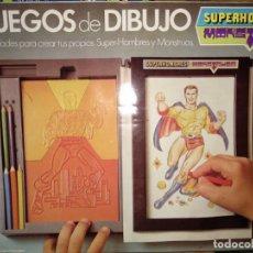 Juguetes antiguos: SUPERHOMBRES Y MONSTRUOS - GEYPER AÑOS 80 - JUEGO DE DIBUJO COMPLETO Y NUEVO EN CAJA - MUY RARO . Lote 151460802