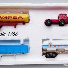 Juguetes antiguos: GUILOY CAJA SET REF 902 BARREIROS TRAILER CAMPSA Y GAS BUTANO. Lote 115548027