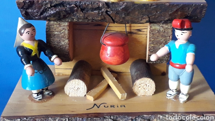 Juguetes antiguos: Bonita composición Rdo. de Nuria, Pagesos Catalanes, madera pintada a mano, Goula original años 60. - Foto 5 - 163747282