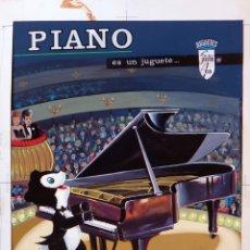 Juguetes antiguos: CARTEL PUBLICIDAD CAJA JUGUETE PIANO SANTA ANA PINTADO A MANO PINTURA ORIGINAL. Lote 164018586