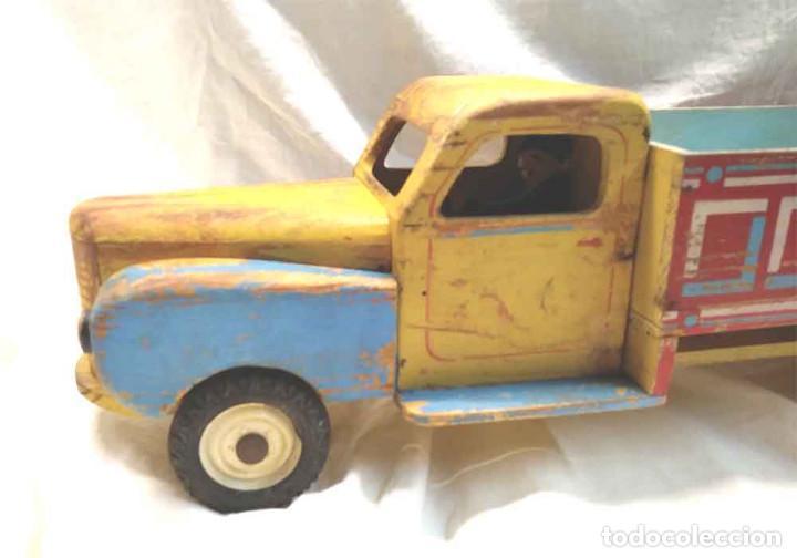 Juguetes antiguos: Camion madera policromada Denia años 40, modelo grande 64 cm - Foto 2 - 169711936