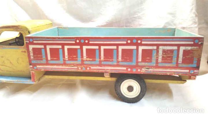 Juguetes antiguos: Camion madera policromada Denia años 40, modelo grande 64 cm - Foto 3 - 169711936
