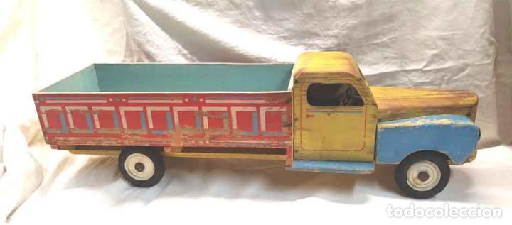 Juguetes antiguos: Camion madera policromada Denia años 40, modelo grande 64 cm - Foto 6 - 169711936