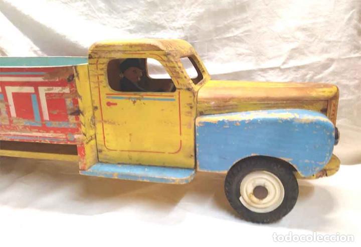 Juguetes antiguos: Camion madera policromada Denia años 40, modelo grande 64 cm - Foto 7 - 169711936