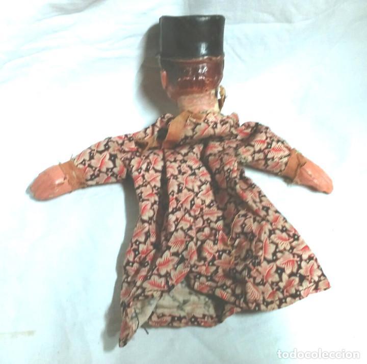 Juguetes antiguos: Ladrón Maleante Guiñol Titere Marioneta terracota barro años 60. Med 26 cm - Foto 2 - 195358186