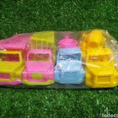 Brinquedos antigos: LOTE 4 CAMIONES PLÁSTICO NUEVOS MARCA KARPAN ZARAGOZA AÑOS 70/80. Lote 220848598