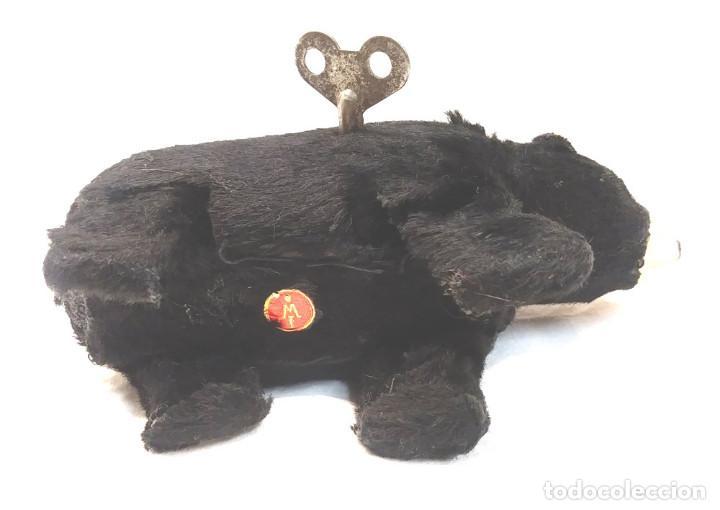 Juguetes antiguos: Oso Polar negro de cuerda, perfecto estado funciona, de la casa Ibense años 40 - Foto 4 - 225455425