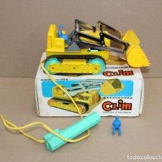 Brinquedos antigos: EXCAVADORA CLIM CON CABLE DIRIGIDA AÑOS 60 EN SU CAJA. JUGUETE. Lote 227014705