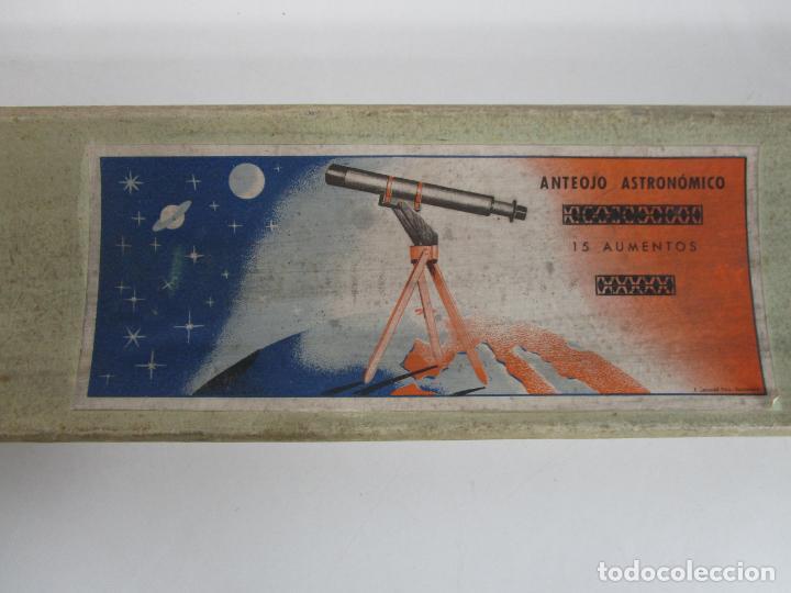 Juguetes antiguos: Caja Anteojo Astronómico - con Trípode en Madera - Foto 3 - 228003650