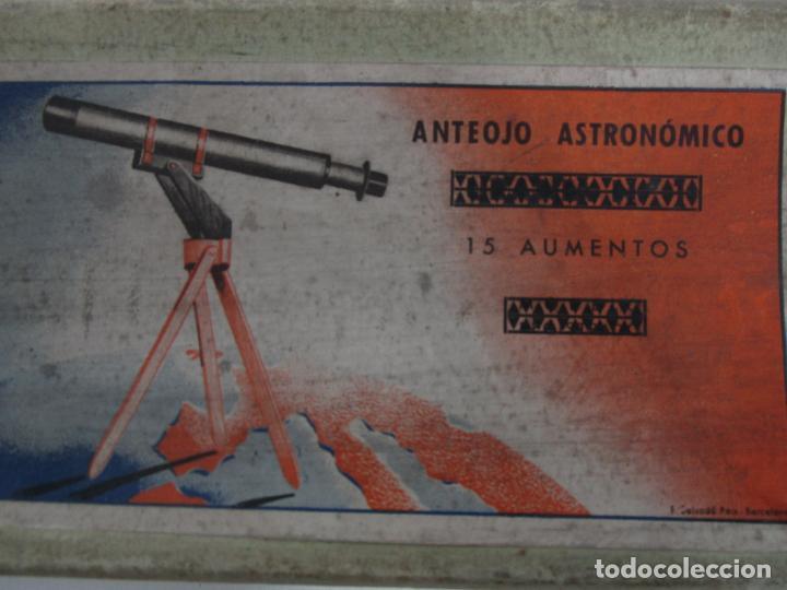 Juguetes antiguos: Caja Anteojo Astronómico - con Trípode en Madera - Foto 4 - 228003650