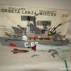 Juguetes antiguos: ANTIGUA CORBETA LANZA MISILES C-68 DE JUGUETES JEFE. Lote 228804035