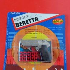 Giocattoli antichi: PISTOLA BERETTA (8 CM).MINIATURAS METÁLICAS REDONDO 70S.SIN ABRIR.. Lote 245764215