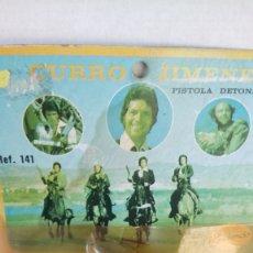 Juguetes antiguos: BLISTER PISTOLA DE CURRO JIMÉNEZ. MINIATURAS REDONDO.. Lote 261891985