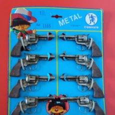 Brinquedos antigos: EXPOSITOR DE 10 PISTOLAS REVÓLVER METÁLICO (14 CM) PARA FULMINANTES DE 1 TIRO.GONZALEZ GONHER 70S.. Lote 266157118