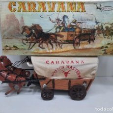 Juguetes antiguos: VICMA CARAVANA OESTE WAGON MASTER 2 CABALLOS EN CAJA!. Lote 275680343