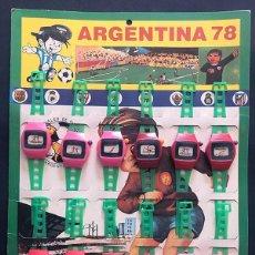 Juguetes antiguos: ARGENTINA 78 ( FUTBOL ) EXPOSITOR DE RELOJES DE PLÁSTICO ( COMPLETO ) PLÁSTICOS ALBACETE. Lote 279590733