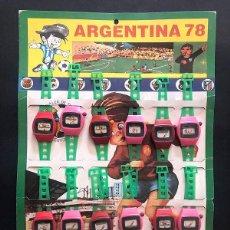 Juguetes antiguos: ARGENTINA 78 ( FUTBOL ) EXPOSITOR DE RELOJES DE PLÁSTICO ( COMPLETO ) PLÁSTICOS ALBACETE. Lote 279591078