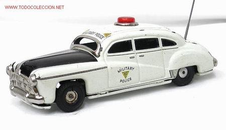 COCHE POLICÍA MILITAR HUDSON TIPPCO TIPCO MADE IN WESTERN GERMANY HOJALATA A FRICCIÓN 1950 (Juguetes - Juguetes Antiguos de Hojalata Extranjeros)