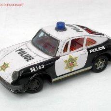 Juguetes antiguos de hojalata: PORSCHE 911 JAPONES POLICÍA HOJALATA AÑOS 60. Lote 1293623