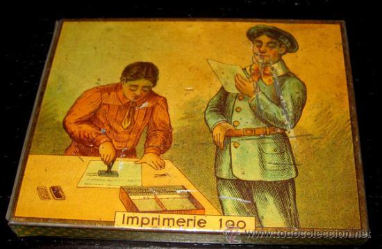 ANTIGUA Y PRECIOSA CAJITA DE HOJALATA IMPRENTA DE JUGUETE FRANCESA - IMPRIMERIE 100 - VACIA - PRECIO (Juguetes - Juguetes Antiguos de Hojalata Extranjeros)
