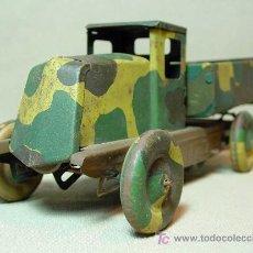 Juguetes antiguos de hojalata: CAMION MILITAR, CAMUFLADO, CR, CHARLES ROSSIGNOL, FRANCIA, 1930S. Lote 18304695
