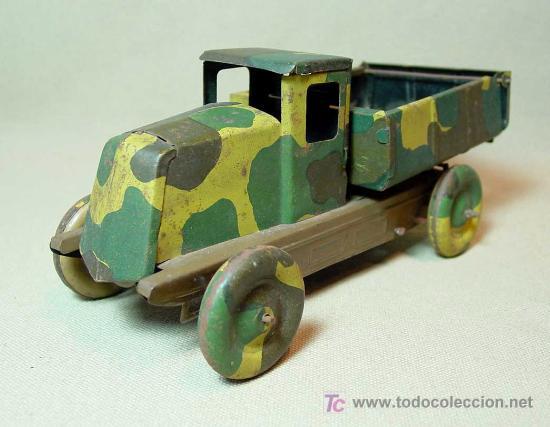 Juguetes antiguos de hojalata: CAMION MILITAR, CAMUFLADO, CR, CHARLES ROSSIGNOL, FRANCIA, 1930s - Foto 5 - 18304695