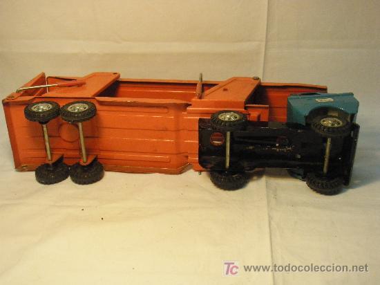 Juguetes antiguos de hojalata: CAMION TRAILER DE HOJALATA DE GOZAN DE LOS AÑOS 70 - Foto 8 - 26758400
