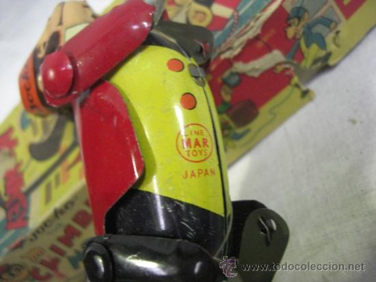 Juguetes antiguos de hojalata: Mono que sube la cuerda. Jocko Then Clim Bing Monkey. Juguete japonés. Line Mark Toys Japan - Foto 4 - 27564907